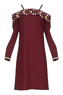 Wine Off Shoulder Embroidered Dress by Isha Singhal