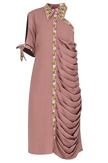 Pale Pink One Shoulder Drape Dress by Isha Singhal
