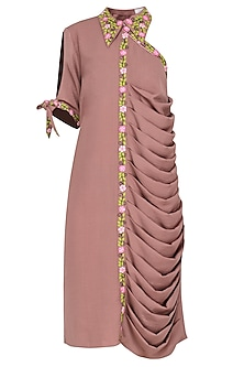 Pale Pink One Shoulder Drape Dress by Isha Singhal