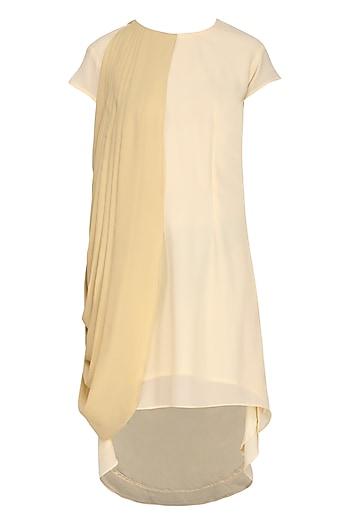 Beige One Side Drape Dress by Isha Singhal