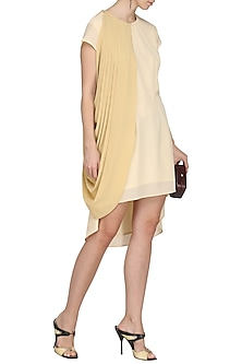 Beige One Side Drape Dress by Isha Singhal
