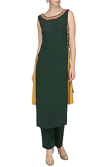 Green and Mustard Tunic with Pants by Isha Singhal