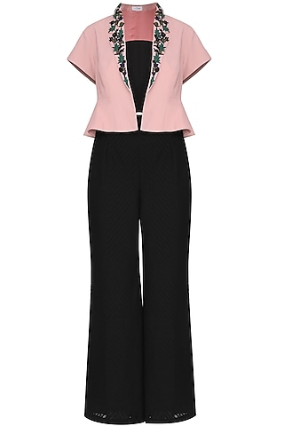 Pink Umbrella Shrug with Black Trousers by Isha Singhal