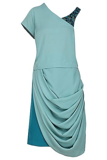 Aqua One Shoulder Top with Drape Skirt by Isha Singhal