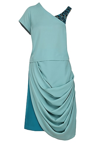 Aqua One Shoulder Top with Drape Skirt by Isha Singhal
