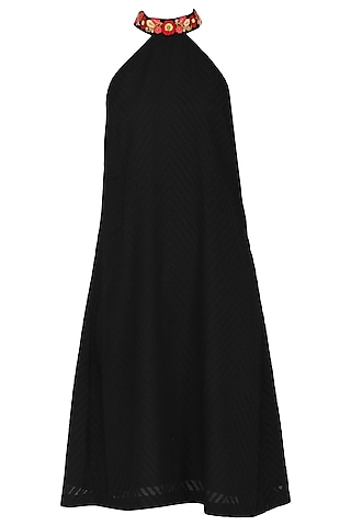 Black Razor Cut A-Line Dress by Isha Singhal
