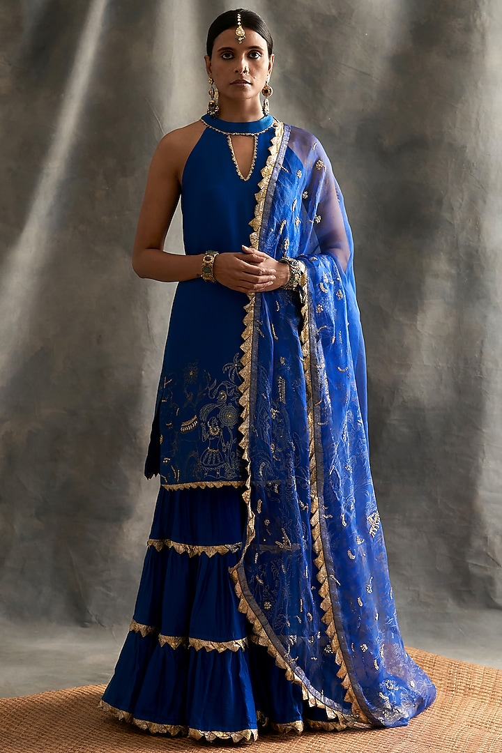 Blue Chanderi Layered Sharara Set by ITRH