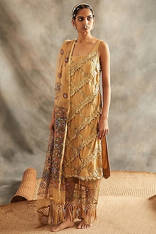 Gold Sequins Embroidered Kurta Set by ITRH