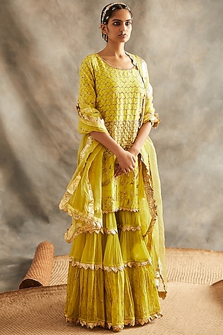Yellow Printed & Embroidered Sharara Set by ITRH