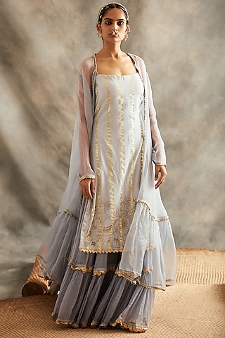 Grey Embroidered Sharara Set by ITRH