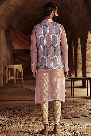 Pink & Blue Embellished Bundi Jacket by ITRH Men