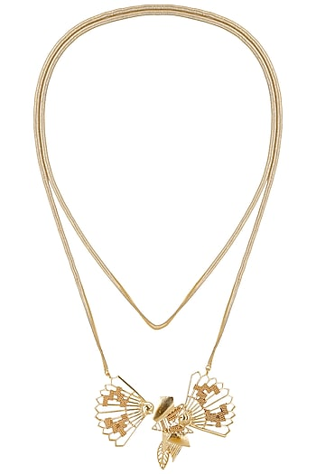 Gold Finish Sash Pendant Necklace by Itrana By Sonal Gupta