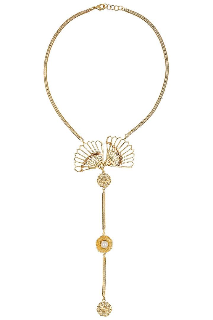 Gold Finish Fan Motif Tie Necklace by Itrana By Sonal Gupta