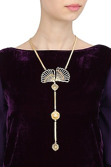 Gold Finish Fan Motif Tie Necklace by Itrana By Sonal Gupta