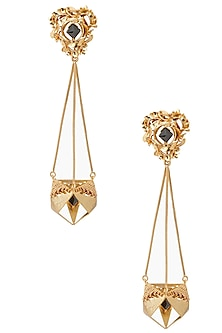 Gold Finish Geometric Shape Jhumki Earrings by Itrana By Sonal Gupta