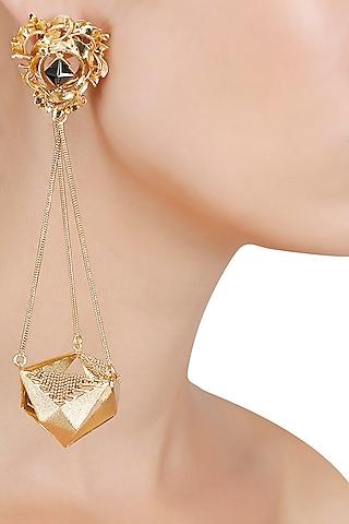 Gold Finish Geometric Shape Jhumki Earrings by Itrana By Sonal Gupta