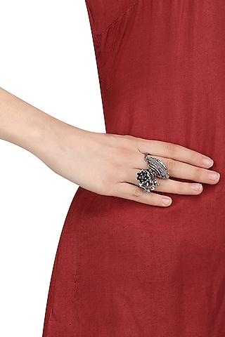 Black Finish Floral Motif Ring by Itrana By Sonal Gupta