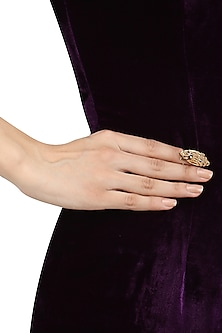 Gold and Black Finish Nail Ring by Itrana By Sonal Gupta