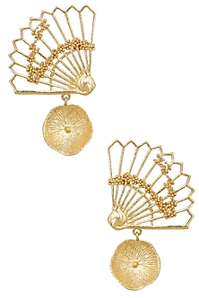 Gold Finish Fan Motif Semi Circle Earrings by Itrana By Sonal Gupta