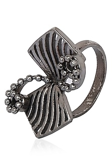 Black Finish Bow Motif Ring by Itrana By Sonal Gupta