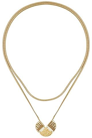 Gold Finish Sash Pendant Necklace by Itrana By Sonal Gupta