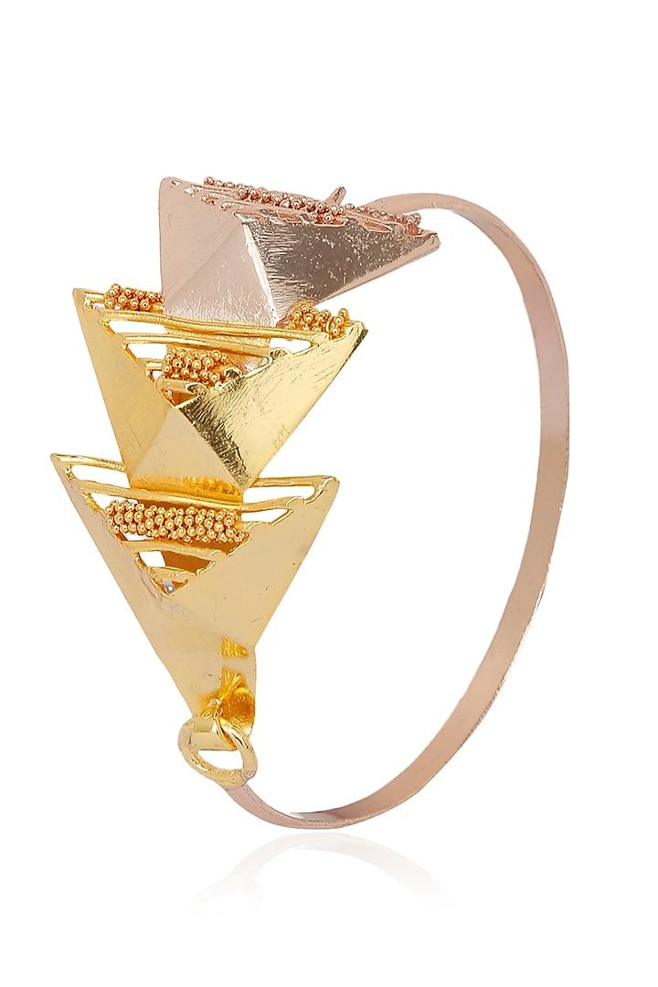 Yellow and Rose Gold Finish Geometric Design Bracelet by Itrana By Sonal Gupta