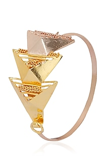 Yellow and Rose Gold Finish Geometric Design Bracelet by Itrana By Sonal Gupta