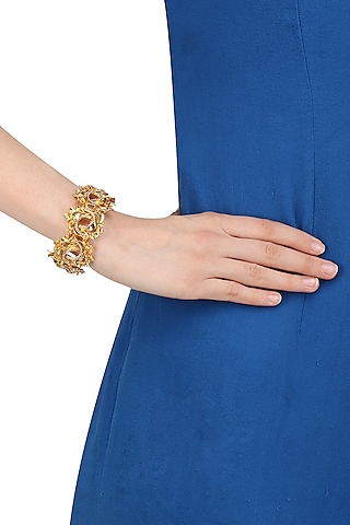 Gold and Silver Finish 3D Floral Motif Bracelet by Itrana By Sonal Gupta