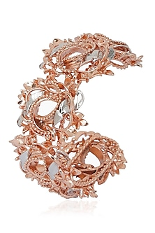 Rose Gold and Silver Finish 3D Floral Motif Bracelet by Itrana By Sonal Gupta