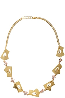 Gold Finish Abstract Shape Necklace by Itrana By Sonal Gupta