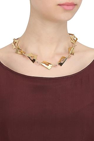Gold Finish Abstract Shape Necklace by Itrana By Sonal Gupta