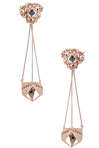 Rose Gold Finish Geometric Shape Jhumki Earrings by Itrana By Sonal Gupta