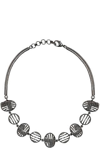 Black Finish Metallic Motifs Choker Necklace by Itrana By Sonal Gupta