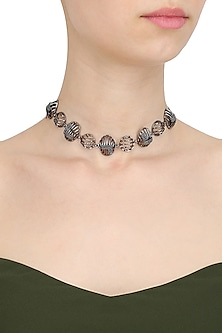 Black Finish Metallic Motifs Choker Necklace by Itrana By Sonal Gupta