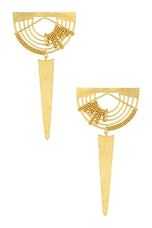 Gold Plated Weaved Ball Chain Semi Circle Earrings by Itrana By Sonal Gupta