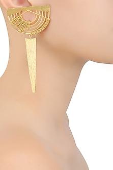 Gold Plated Weaved Ball Chain Semi Circle Earrings by Itrana By Sonal Gupta