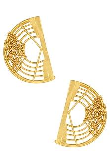 Gold Plated Weaved Ball Chain Semi Circle Earcuffs by Itrana By Sonal Gupta