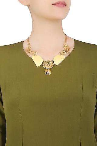 Gold Plated Weaved Ball Chain Semi Circle Geometric Motifs Necklace by Itrana By Sonal Gupta