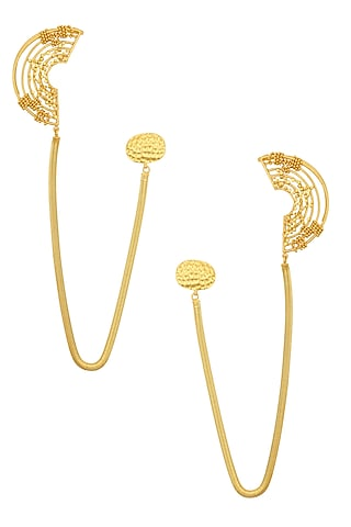 Gold Plated Weaved Ball Chain Semi Circle Attached Chain Earcuffs by Itrana By Sonal Gupta