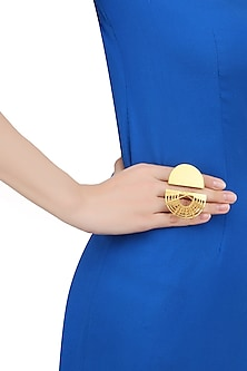 Gold Plated Geometric Shape Statement Ring by Itrana By Sonal Gupta