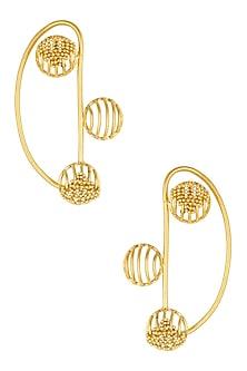 Gold Plated Weaved Ball Chain Three Round Motifs Earcuffs by Itrana By Sonal Gupta