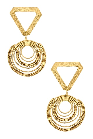 Gold Plated Textured Triangle Top and Spiral Round Motifs Earrings by Itrana By Sonal Gupta