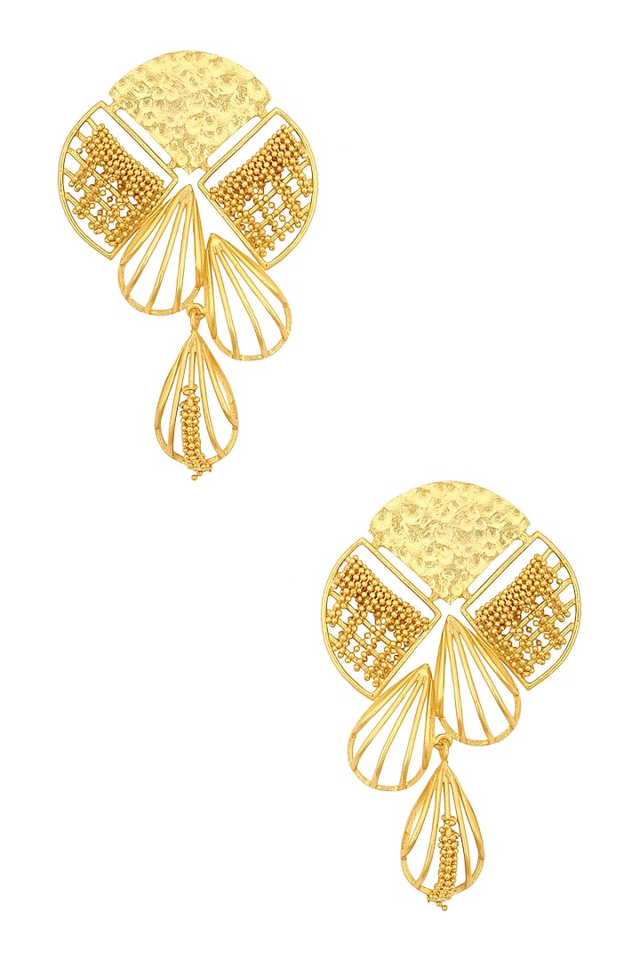 Gold Plated Ball Chains Weaved Earrings by Itrana By Sonal Gupta