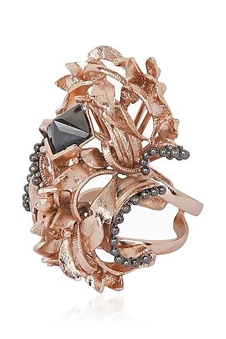 Rose Gold Finish Flower Shape Ring by Itrana By Sonal Gupta