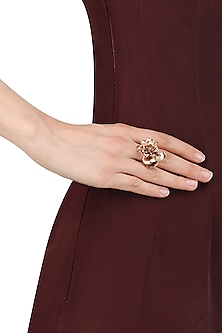 Rose Gold Finish 3D Flower Shape Ring by Itrana By Sonal Gupta