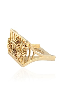Gold Plated Rectangular Shaped 3D Ring by Itrana By Sonal Gupta