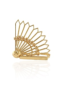 Gold Plated Fan Motif Double Finger Tribal Ring by Itrana By Sonal Gupta