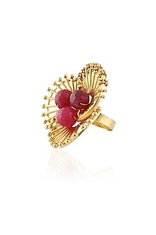 Gold Plated Pink Floral Ring by Itrana By Sonal Gupta
