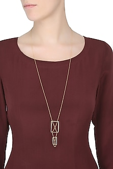 Gold Plated Rectangular Shaped Motifs Layered Necklace by Itrana By Sonal Gupta