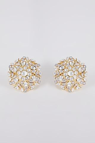Gold Plated Handcrafted Kundan Polki Earrings In Sterling Silver by IVORINE